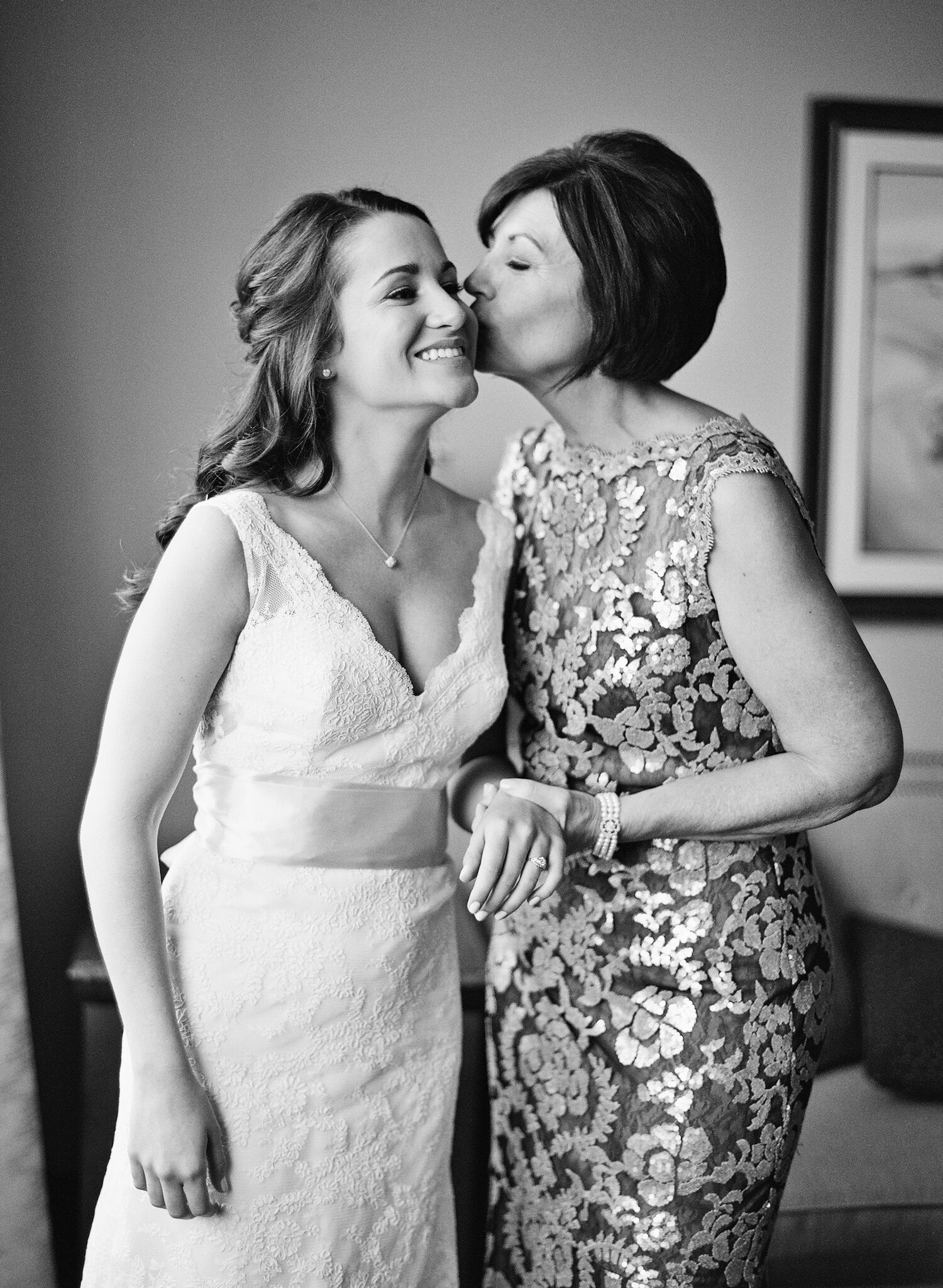 b&w mom and bride