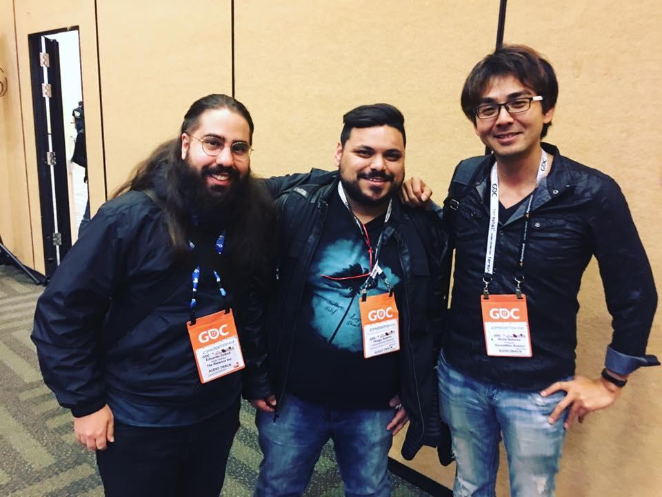 Eduardo Zolhof (compositor/audio designer Brasileiro), eu e o Shota Nakama (um dos compositores da trilha sonora do Final Final Fantasy XV, e sim, ele sabe da piada com o nome dele :)