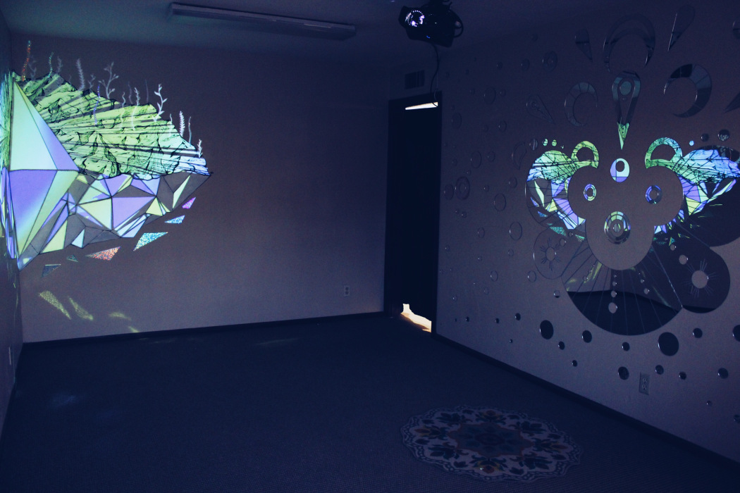 Pictured on the right: Lazer-cut mirror installation by Michelle Cardin  Photo: Victoria Fong