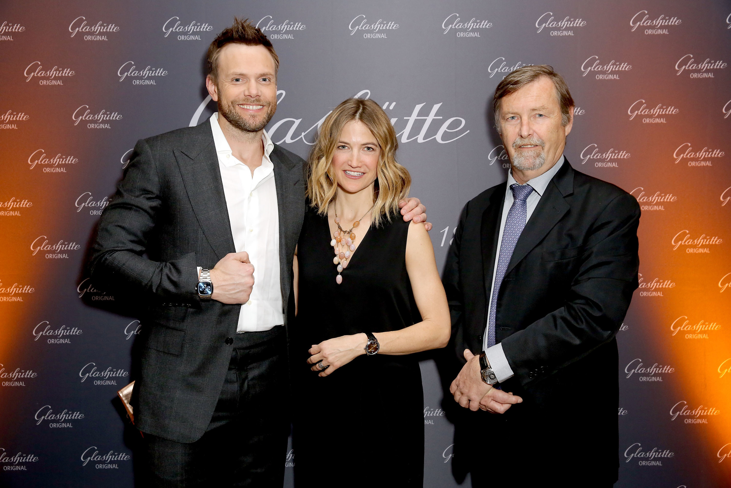 """Glashütte Original Celebrates the Launch of Manufactory Book """"Impressions"""".Joel McHale Taking in the Beauty of Glashütte watches! Photo Credit: Rachel Murray/Getty Images for Glashutte Original"""