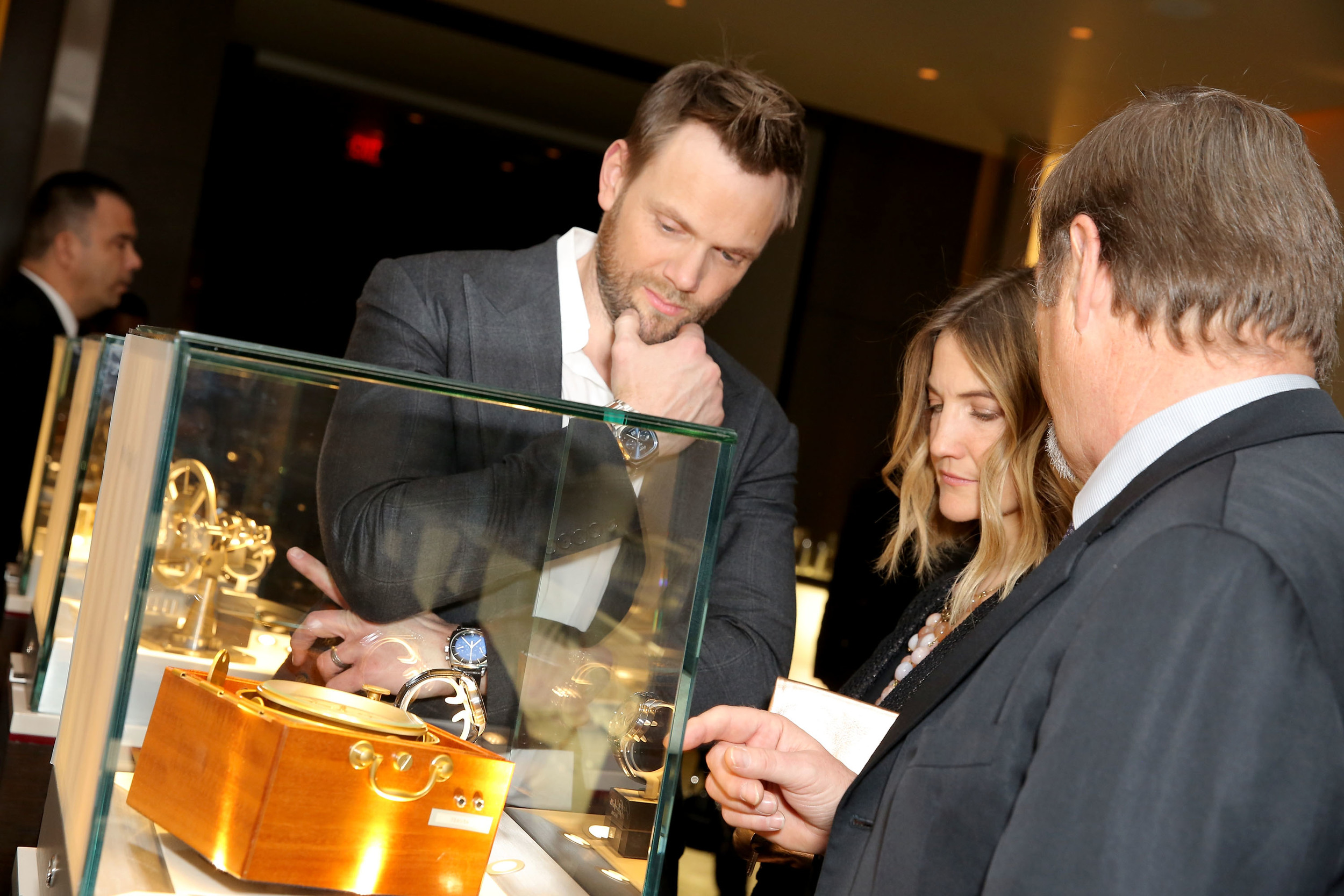Joel McHale Taking in the Beauty of Glashütte watches! Photo Credit: Rachel Murray/Getty Images for Glashutte Original