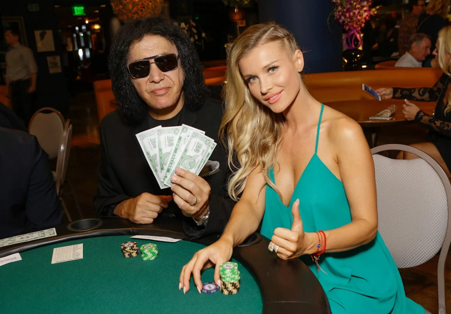 Rock legend Gene Simmons and supermodel Joanna Krupa were all smiles at the  Tower Cancer Research Foundation's    3rd Annual Ante Up for a Cancer Free Generation Poker Tournament and Casino Night  over the weekend  at   Riviera 31   at the  Sofitel Hotel Beverly Hills. Photo Credit: Tiffany Rose