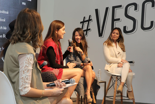 (L-R) Tv Host and Front Roe blogger, Louise Roe, RockyBarnes blogger, Rocky Barnes, Style Scrapbook blogger Andy Torres, WendyÕs Lookbook blogger Wendy Nguyen, and Life With Me blogger Marianna Hewitt speak onstage during their panel 'A New Paradigm, The Power Of The Social Influencer' during the 2016 Vanity Fair Social Club #VFSC for Oscar Week at PLATFORM on February 27, 2016 in Culver City, California. (Photo by Rachel Murray/Getty Images for Vanity Fair)