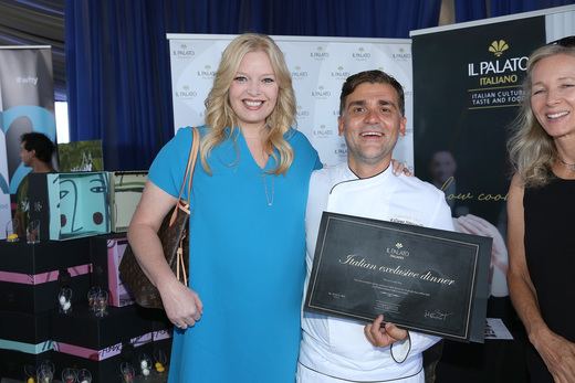 Actress Mellisa Peterman and chef Filippo Sinisgalli attend PILOT PEN & GBK's Pre-Emmy Luxury Lounge - Day 1 at L'Ermitage Beverly Hills Hotel on September 16, 2016 in Beverly Hills, California. (Photo by Maury Phillips/Getty Images for GBK Productions)
