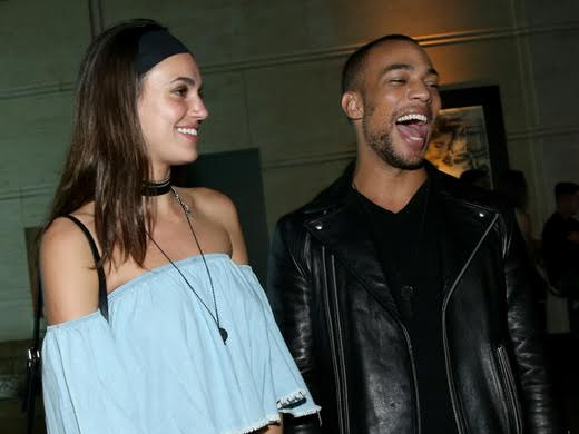 Influencer Mari McKinney (L) and actor Kendrick Sampson share a few laughs at The Giving Keys launch party for the new Matte Black Key Necklace on September 29, 2016 at RVCC in Los Angeles, California.  (Photo by Jonathan Leibson/Getty Images for The Giving Keys)