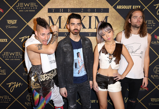 (L-R) Musicians Cole Whittle, Joe Jonas, JinJoo Lee, and Jack Lawless of DNCE arrive at the Maxim Super Bowl Party on February 4, 2017 in Houston, Texas. Photo Credit: John Parra/Getty Images for Maxim