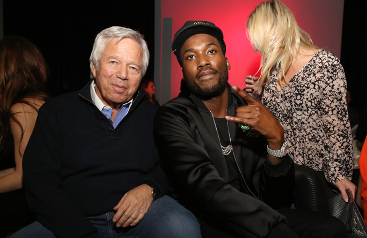 New England Patriots Owner and ring hopeful, Robert Kraft, spotted chatting it up with Meek Mill at the FANATICS Super Bowl Party in Houston on Saturday, February 4, 2017. Photo Credit: Robin Marchant/Getty Images for Fanatics