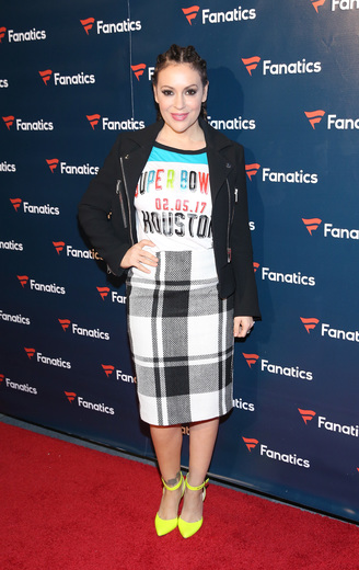 Actress Alyssa Milano arrives for the Fanatics Super Bowl Party at Ballroom at Bayou Place on February 4, 2017 in Houston, Texas. Photo Credit: Robin Marchant/Getty Images for Fanatics