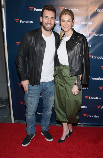 Sportscaster Erin Andrews (R) and former NHL player Jarret Stoll arrive for the Fanatics Super Bowl Party at Ballroom at Bayou Place on February 4, 2017 in Houston, Texas. Photo Credit: Robin Marchant/Getty Images for Fanatics