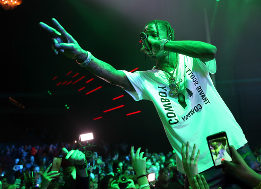 Rapper Travis Scott performs onstage at the Maxim Super Bowl Party on February 5, 2017 in Houston, Texas. Photo Credit: Tasos Katopodis/Getty Images for Maxim