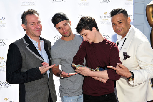 (L-R) GBK Productions CEO Gavin Keilly, singer Jake Miller, Lucas Zumann and 'Raffles' attend the GBK Pre-OSCAR Luxury Lounge on February 24, 2017 in Beverly Hills, California. (Photo by Jerod Harris/Getty Images for GBK Productions)