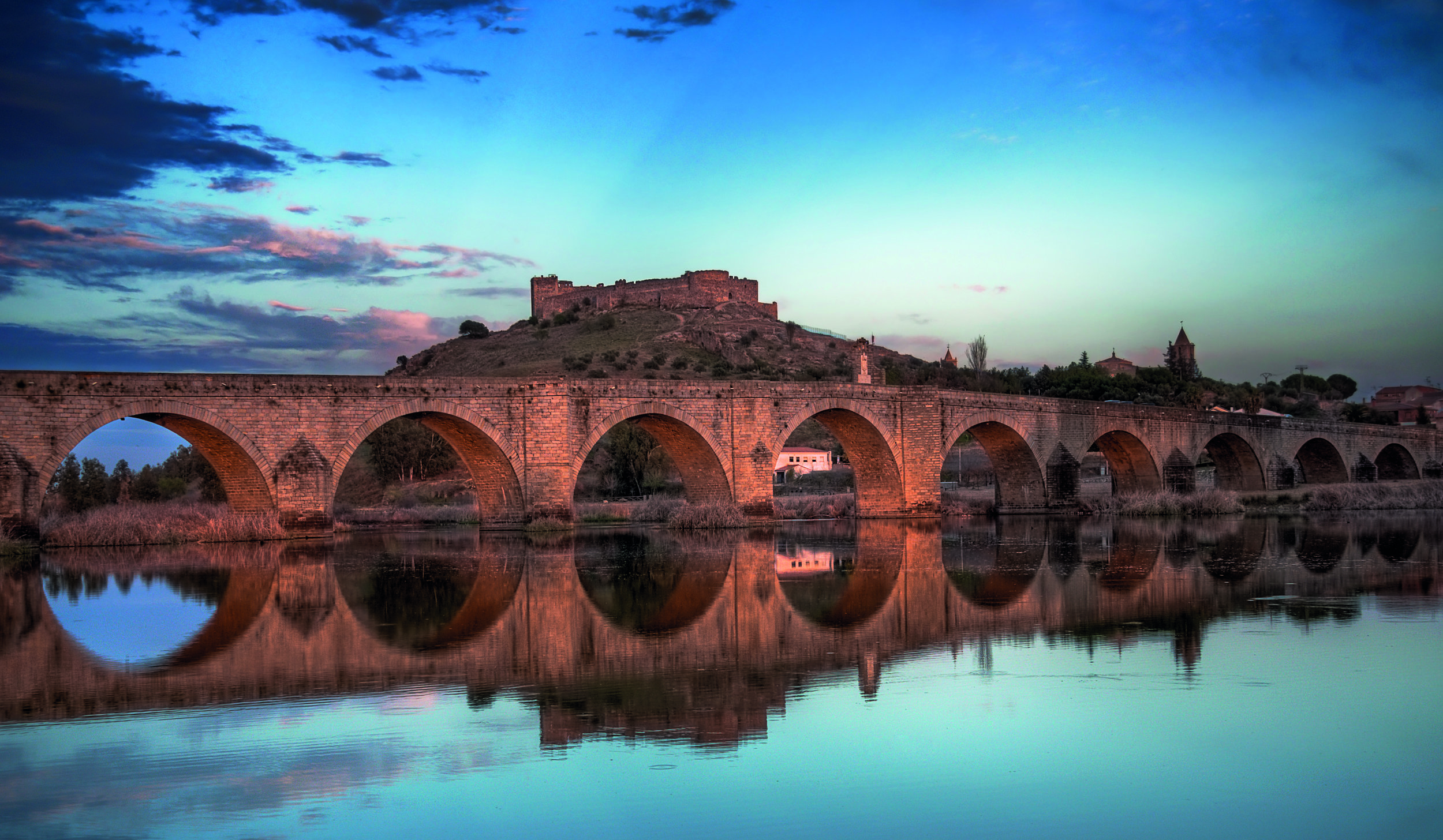 The Gorgeous Medellin Bridge! You Could See Intruders Coming From Miles Away! Knights Would Alert the Townsmen and Villagers to Prepare. Photo Credit: Courtesy of Extremadura Tourism