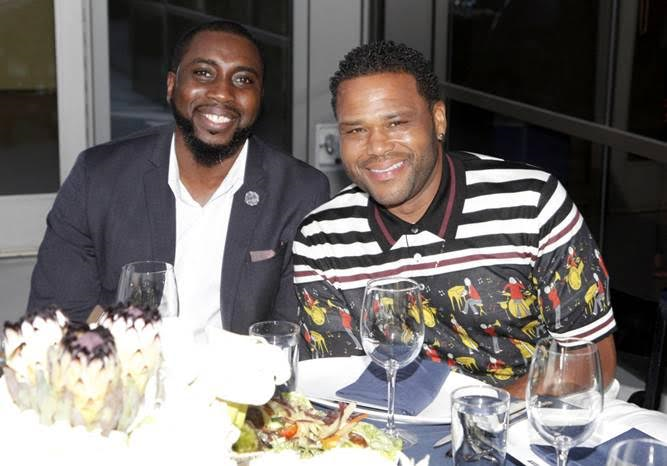 Dela Yador and Host for the evening Anthony Anderson at the Talent Resources Sports Dinner hosted by Martell Cognac at Playboy Headquarters on July 11, 2017. Photo Credit: Tibrina Hobson/Getty Images for Talent Resources Sports.