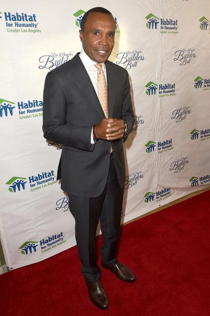 """Sugar"" Ray Leonard receives the Dream Builder award at the Habitat LA 2017 Los Angeles Builders Ball at The Beverly Hilton Hotel. Photo Credit: Joshua Blanchard/ Getty Images for Habitat For Humanity."