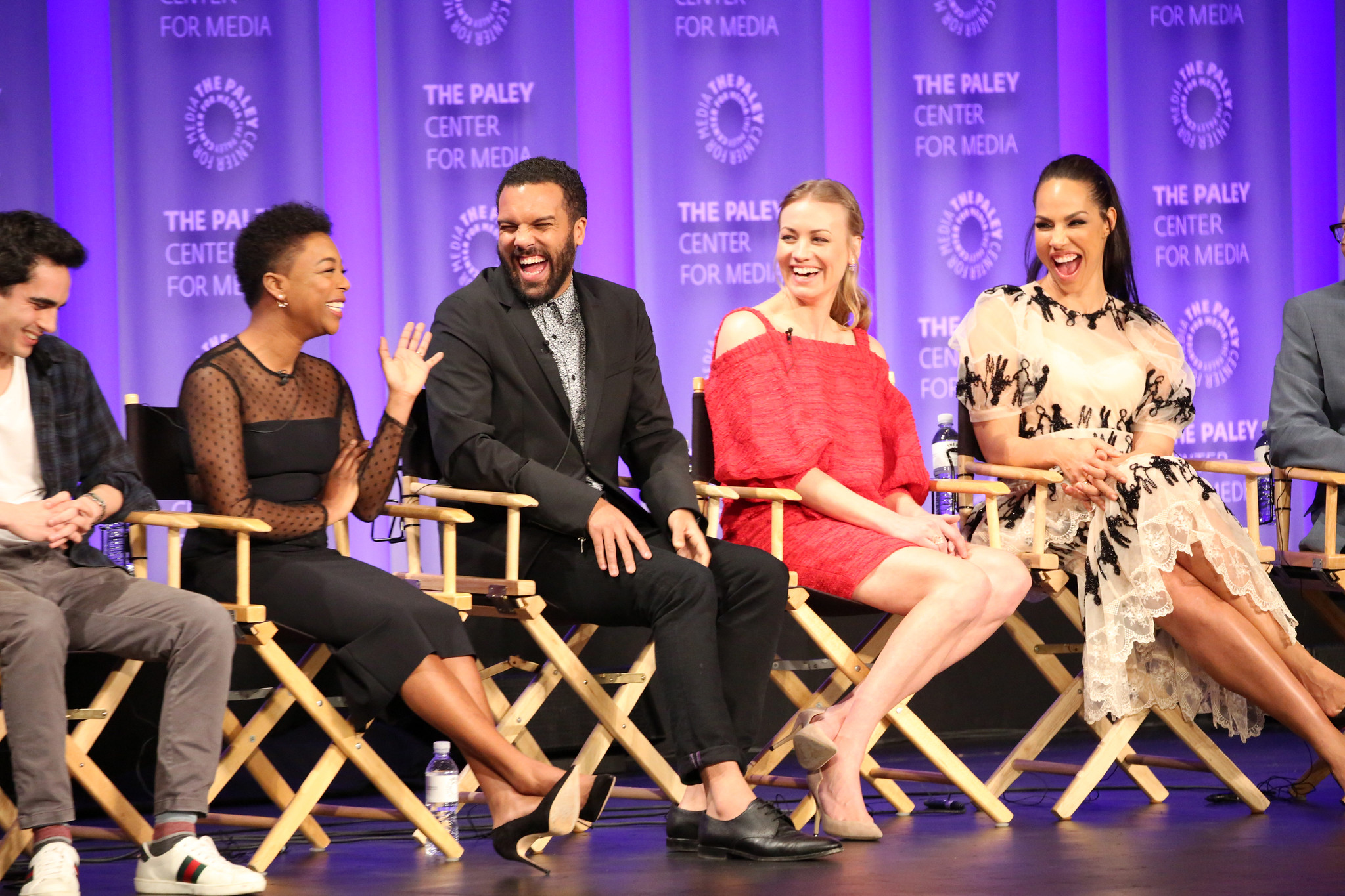 (L-R): Max Minghella, Samira Wiley, O-T Fagbenle, Yvonne Strahovski, and Amanda Brugel, attend PaleyFest LA 2018 honoring The Handmaid's Tale, presented by The Paley Center for Media, at the DOLBY THEATRE on March 18, 2018 in Hollywood, California. Photo Credit: Brian To for the Paley Center