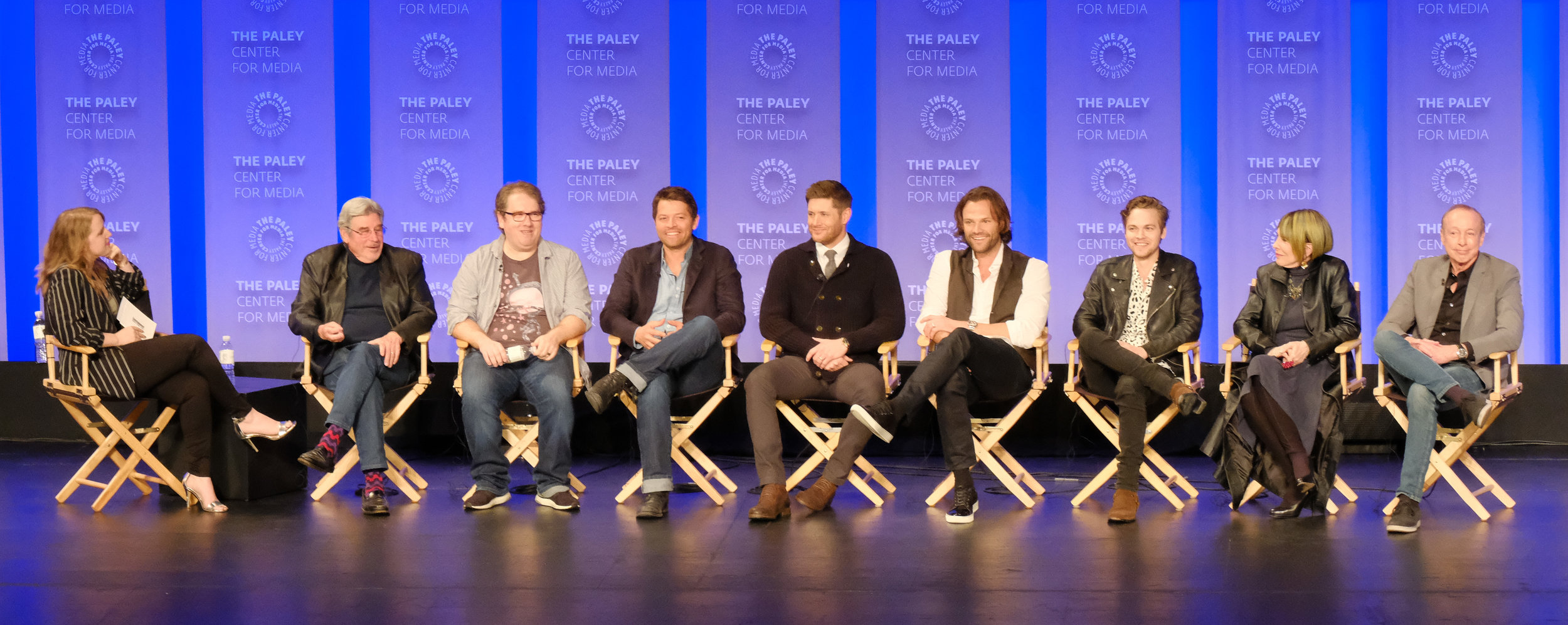 (L-R): Entertainment Weekly's Samantha Highfill with the cast and creatives of Supernatural at PaleyFest LA 2018 honoring Supernatural, presented by The Paley Center for Media, at the DOLBY THEATRE on March 20, 2018 in Hollywood, California. Photo Credit:Emily Kneeter for the Paley Center