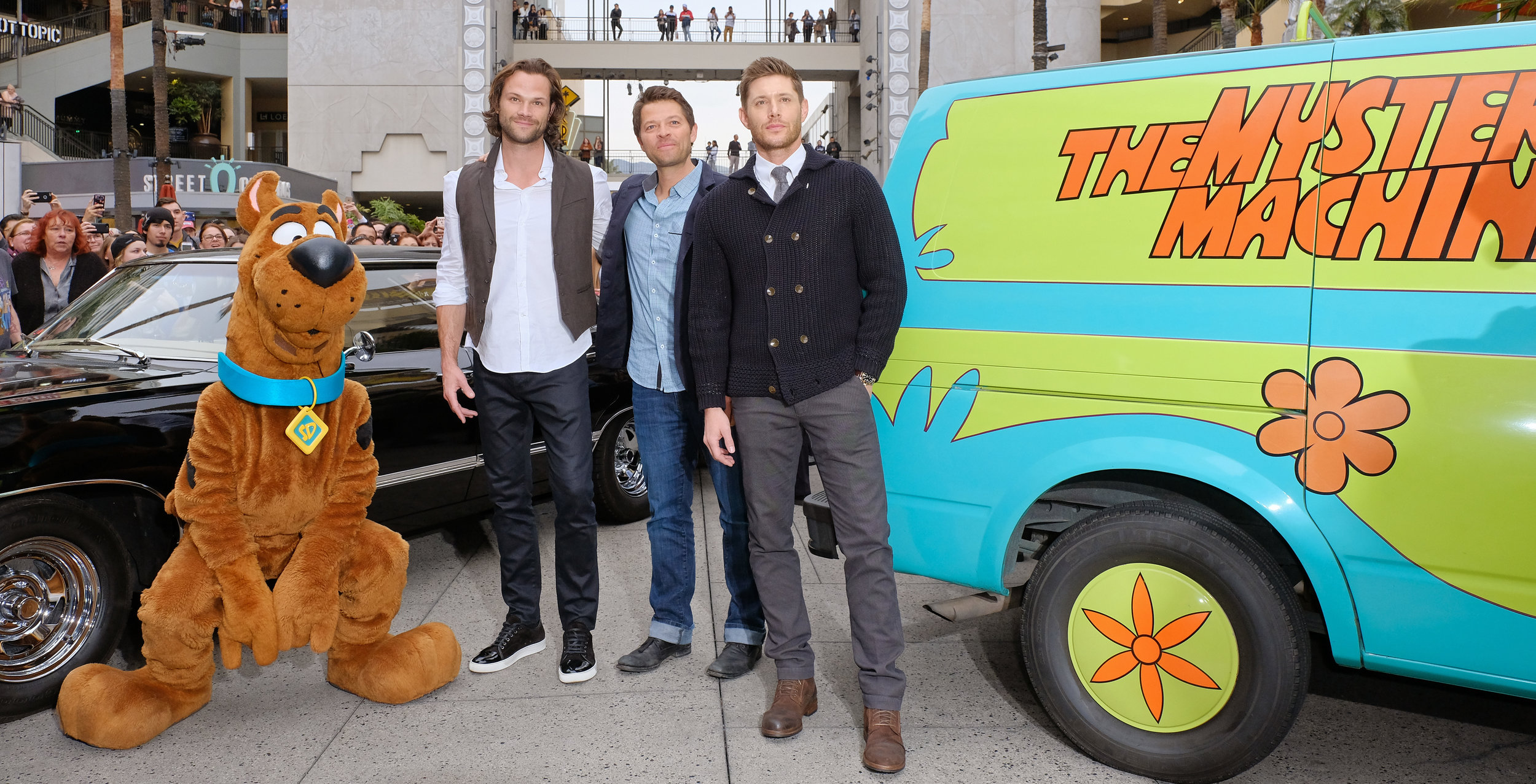 (L-R): Jared Padalecki, Misha Collins, and Jensen Ackles arrive at PaleyFest LA 2018 honoring Supernatural, presented by The Paley Center for Media, at the DOLBY THEATRE on March 20, 2018 in Hollywood, California. Photo Credit: Michael Bulbenko for the Paley Center