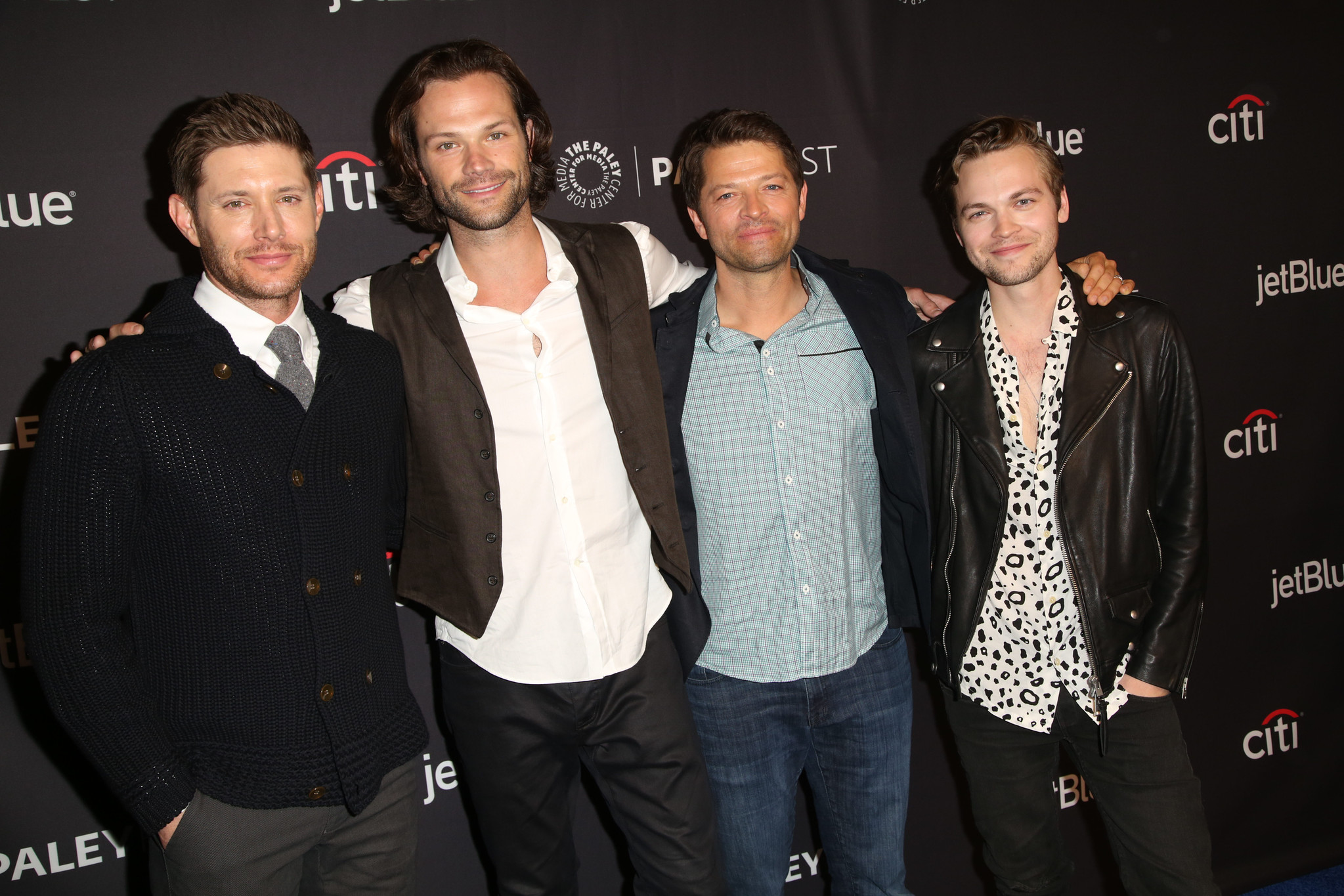 (L-R): Jensen Ackles, Jared Padalecki, Misha Collins, and Alexander Calvert arrive at PaleyFest LA 2018 honoring Supernatural, presented by The Paley Center for Media, at the DOLBY THEATRE on March 20, 2018 in Hollywood, California. Photo Credit: Brian To for the Paley Center