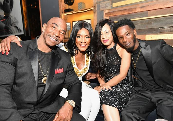 """(L-R) Ernest Bryant, Momma Dee, Quani and Puma attend the premiere of WE tv's """"Marriage Boot Camp Reality Stars"""" at HYDE Sunset on August 28, 2018 in West Hollywood, California.  (Photo by Earl Gibson III 