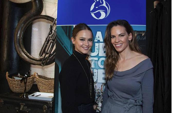 I Am Mother Star, Hilary Swank, Popped Into the Salesforce Music Lodge to Get a Break From the Cold Weather of Park City. Photo Credit: Miles Mortensen | AP for the Salesforce Music Lodge