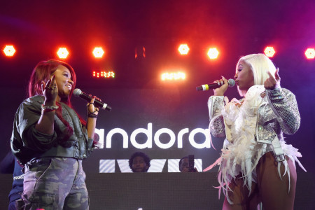 City Girls performs onstage during Pandora Live + Trap Karaoke at Exchange LA on February 6, 2019 in Los Angeles, California. (Photo by Presley Ann/Getty Images for Pandora Media Inc)