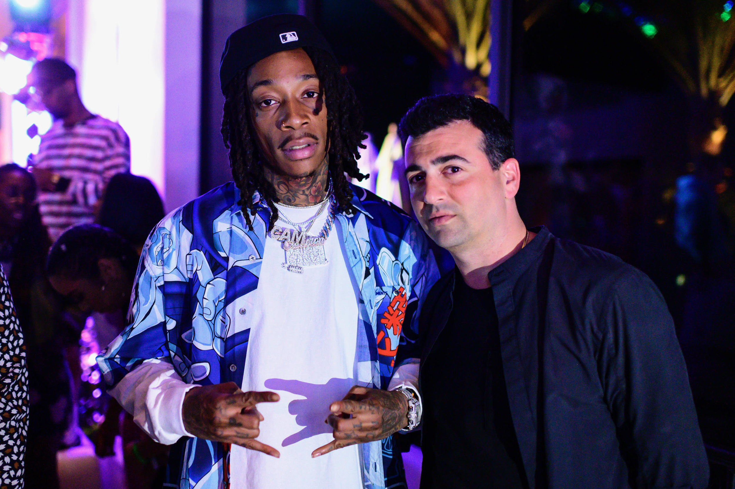Wiz Khalifa with The h.wood Group's John Terzian at the Poppy x Google event in the Coachella Valley.