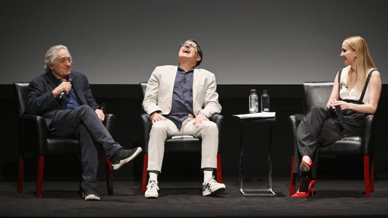 Robert De Niro, David O. Russell and Jennifer Lawrence speak at the Tribeca Talks -- Director Series at the 2019 Tribeca Film Festival at BMCC Tribeca PAC in Manhattan on April 27, 2019. Photo Credit: Getty Images for Tribeca Film Fe/Nicholas Hunt