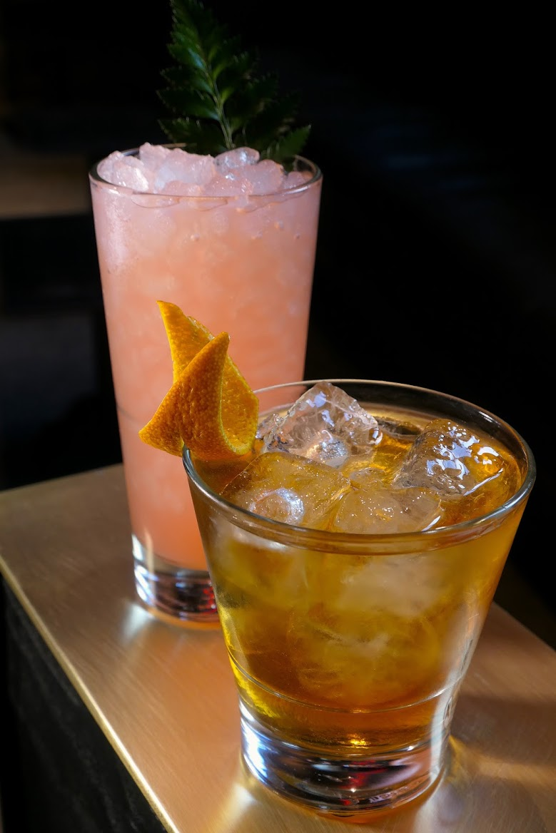 Paloma Faith: Milagro Blanco Tequila, Campari, Grapefruit, Lime and Agave nectar & French Quarter Old Fashioned: Four Roses Bourbon, Benedictine, Simple syrup, Pecychauds and Angostura Bitters.