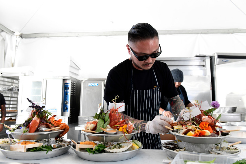Tin Vuong, chef at Little Sister, cooks for the Sidestage Experience at the BeachLife Festival at Seaside Lagoon in Redondo Beach on Saturday, May 4, 2019. (Photo by Axel Koester, Contributing Photographer for Daily Breeze)