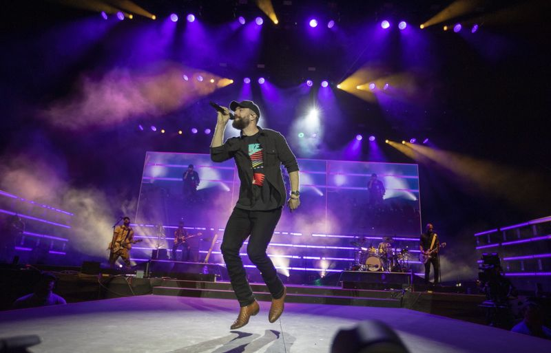 Sam Hunt performs Saturday night at the Stagecoach country music festival in Indio. (Allen J. Schaben / Los Angeles Times)