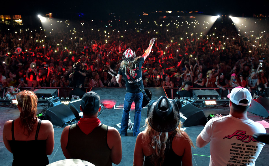 Bret Michaels acknowledges an enthusiastic crowd as veterans and service members watch from on the Palomino Stage on the opening day of the Stagecoach Country Music Festival at the Empire Polo Club in Indio Friday, April 26, 2019. (Photo by Will Lester, Inland Valley Daily Bulletin/SCNG)