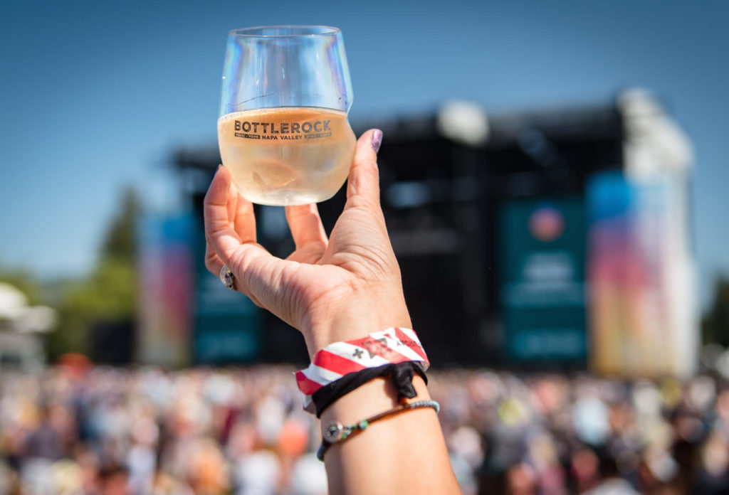 A glass of rosé in the air at BottleRock Photo Courtesy of BottleRock/Sonoma Magazine.