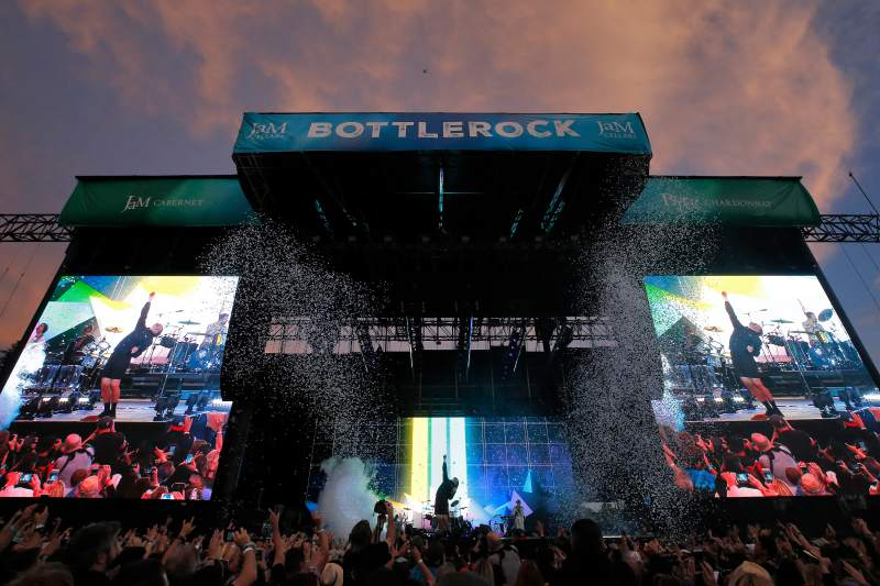 Confetti cannons fire as Imagine Dragons performs on the JaM Cellars Stage during opening day of BottleRock Napa Valley, in Napa, California, on Friday, May 24, 2019. (Alvin Jornada / The Press Democrat)