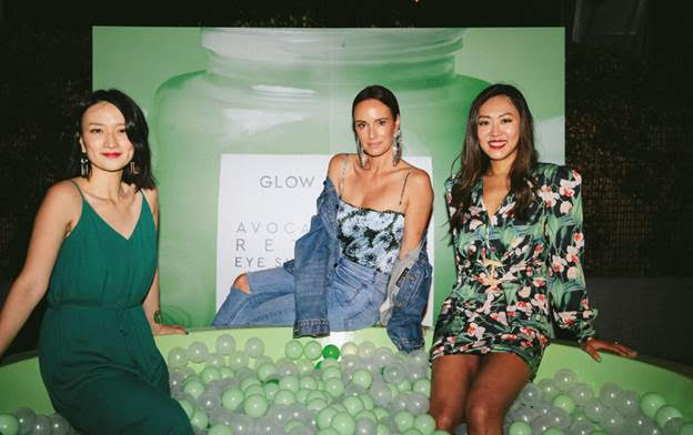 Catt Sadler enjoys the ball bit with Co-Founders of Glow Recipe, Sarah Lee and Christine Chang. Photo Credit: Maxwell Poth