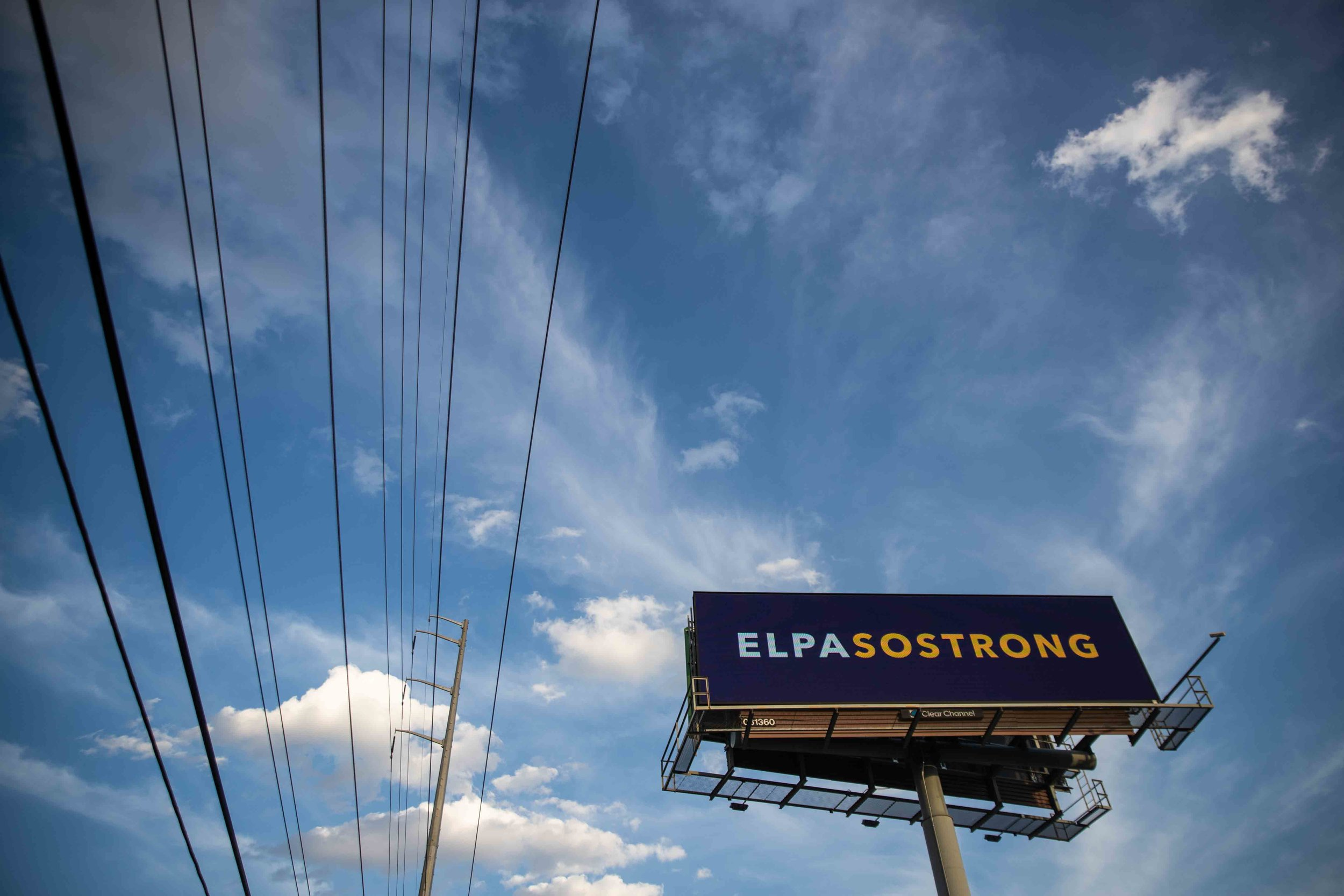 "A banner that reads ""ELPASOSTRONG"" is located near Lomaland Dr in El Paso on Monday, August 5, 2019."