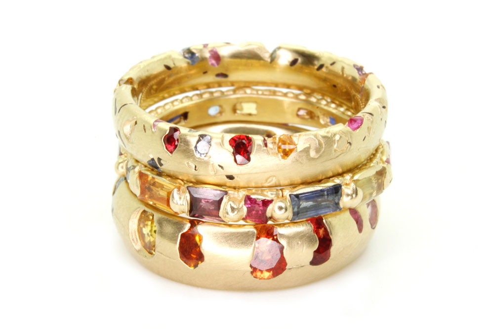 harlequin crystal rainbow ring stack.jpg