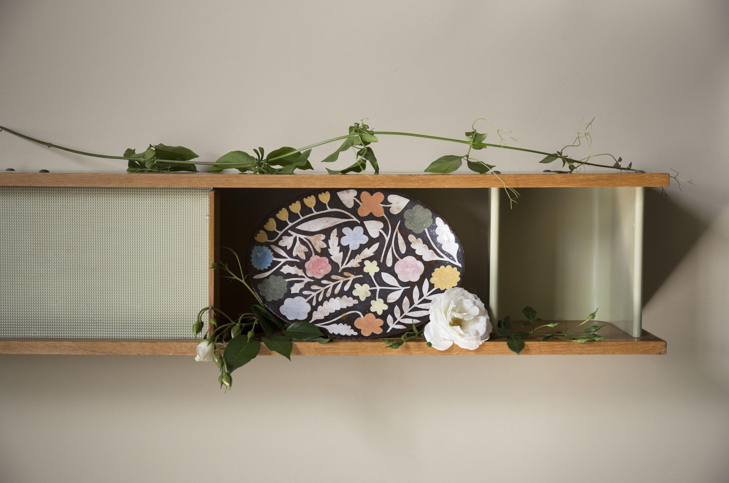 """Vibrant Summer Blossoms"" by Makoto Kagoshima on Charlotte Perriand wall mount."