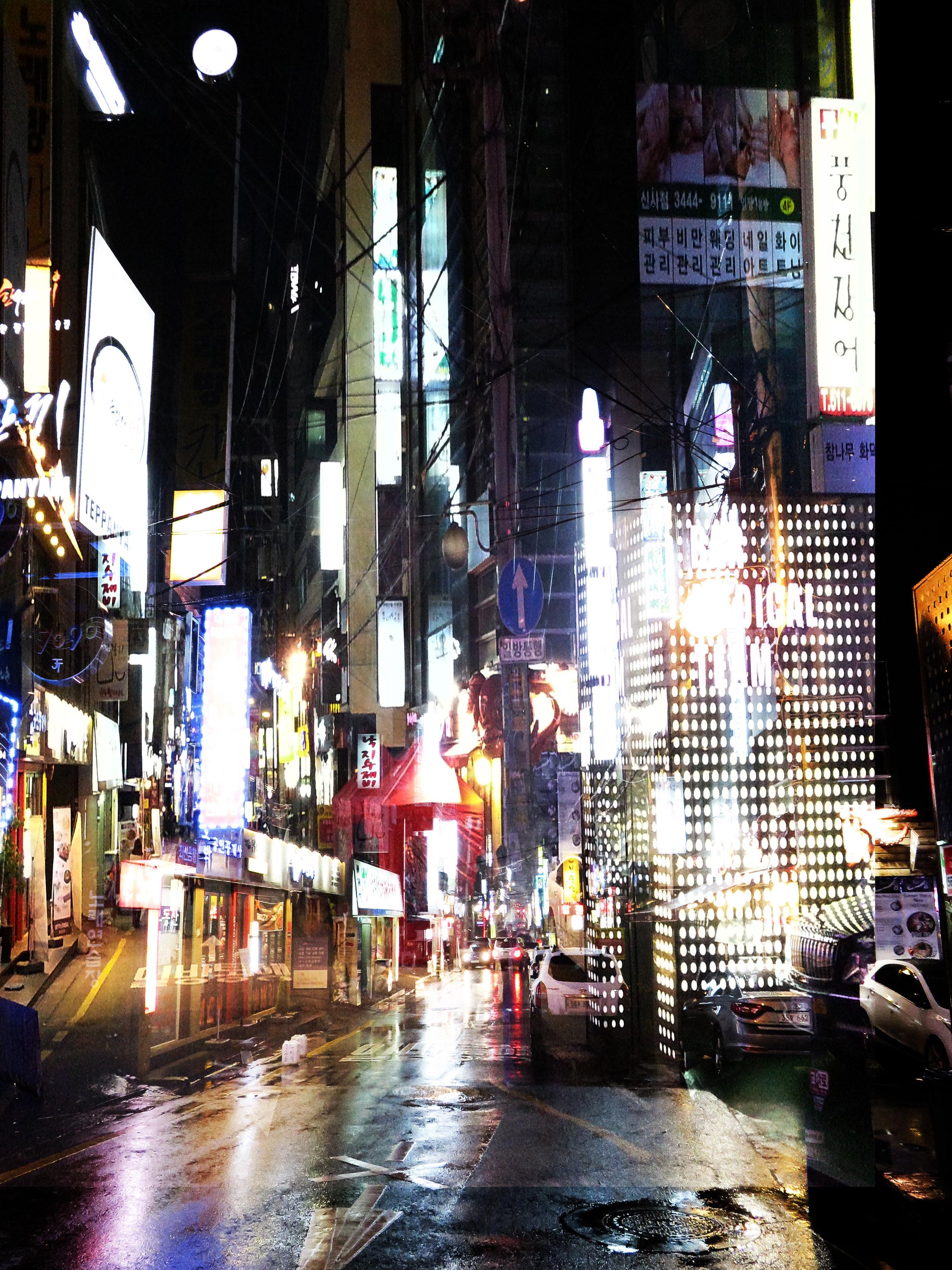 Rainy night in Shinsa-dong,Gangnam - Seoul Korea