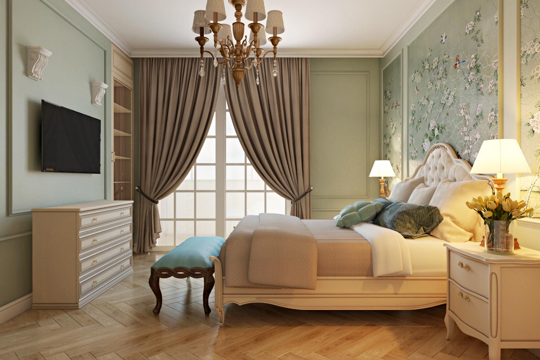 Французское окно в спальне