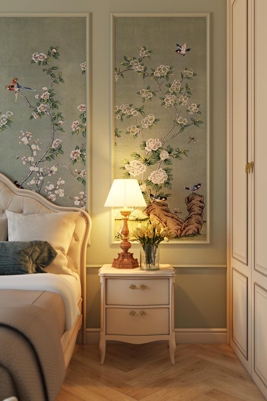 Фреска в декоре спальни