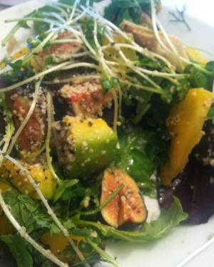 Fig and Avocado Salad with Radish Sprout