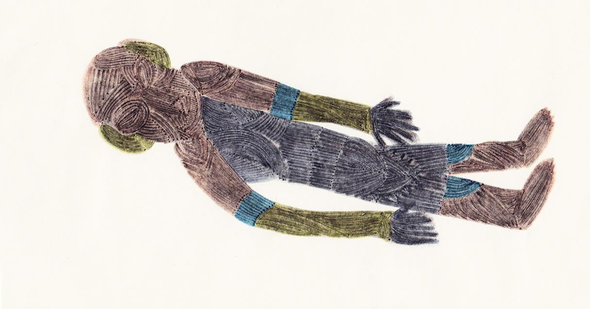 Dormeur, dessin au fusain et feutres de couleurs, 2012