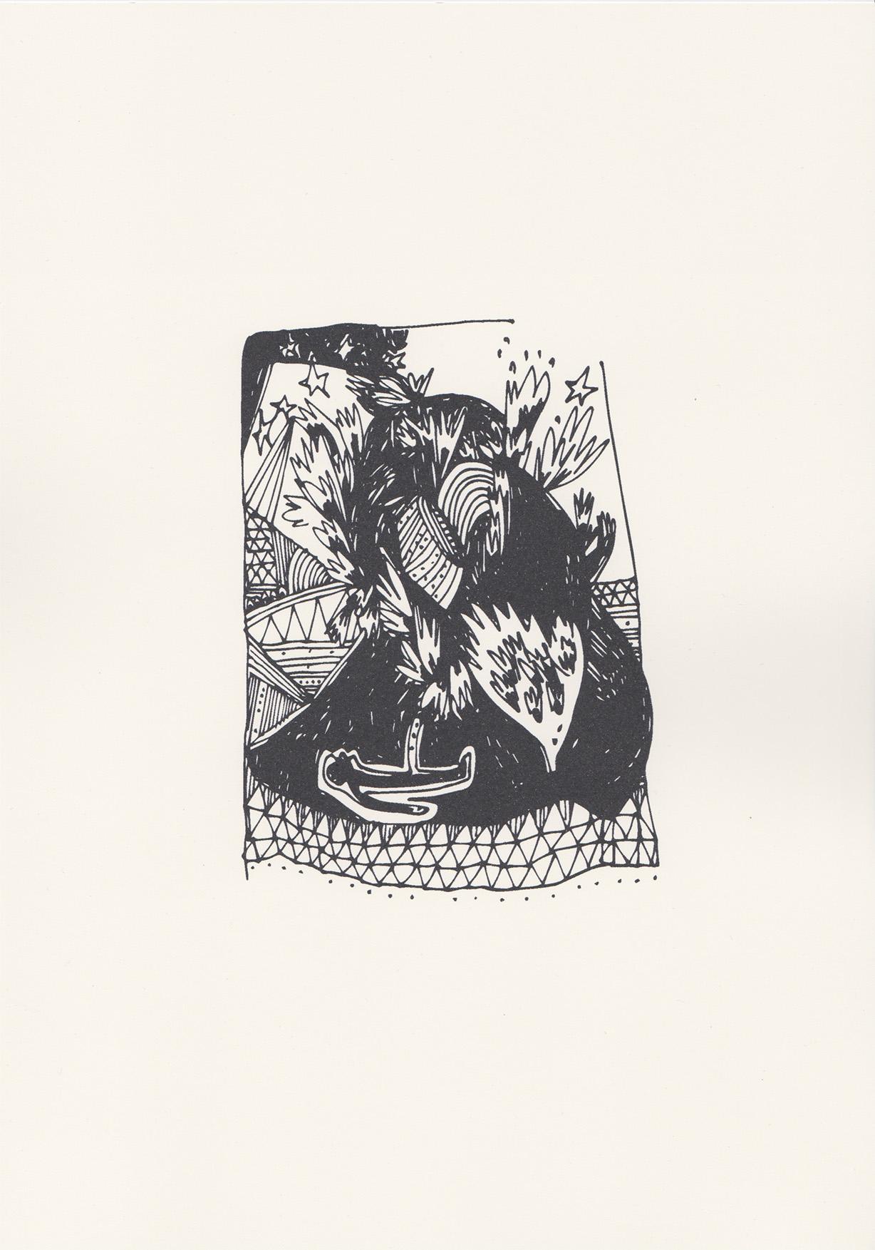 Éjaculation, dessin au feutre, 2013
