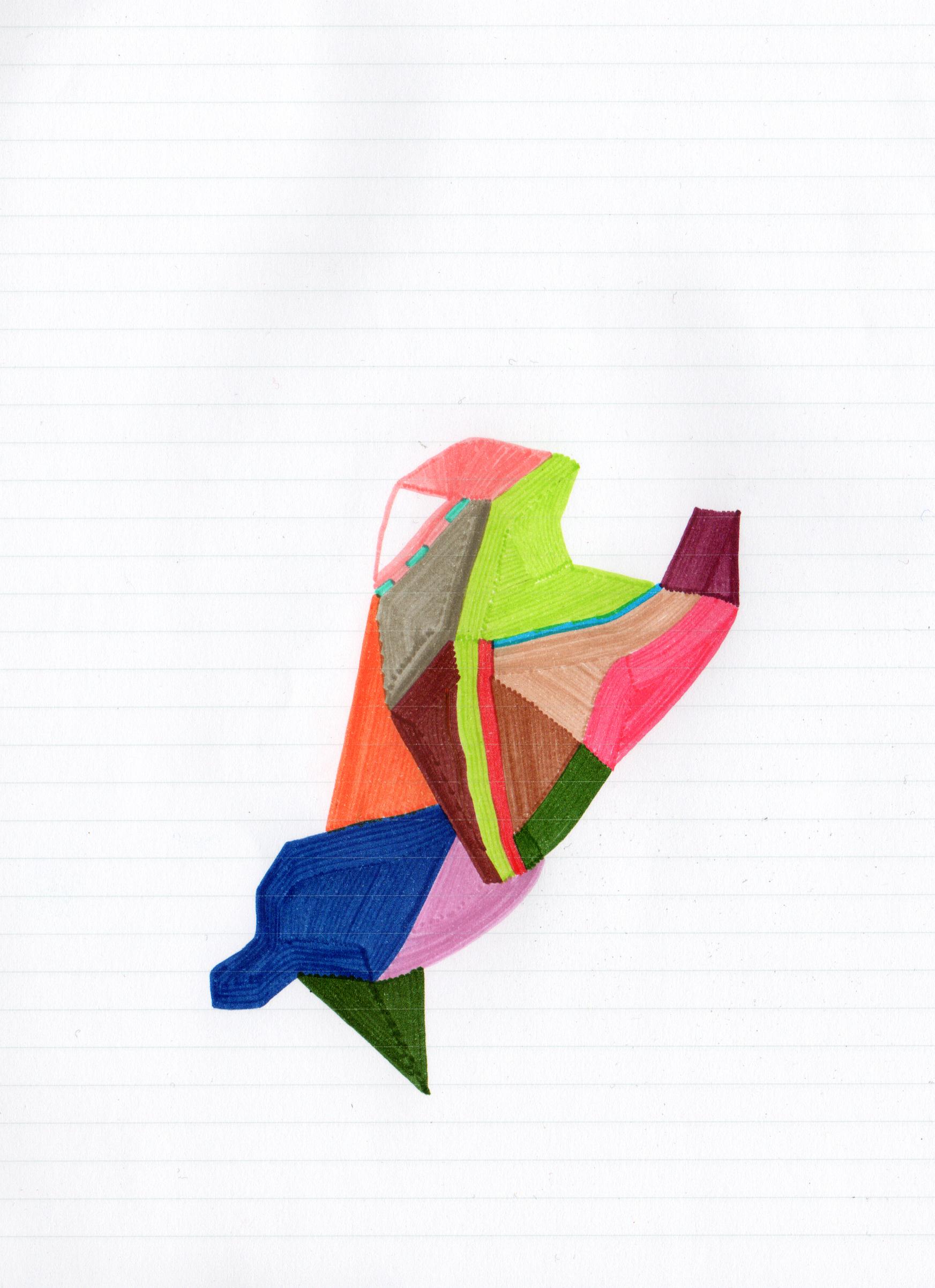 Oiseau, dessin aux feutres, 2013