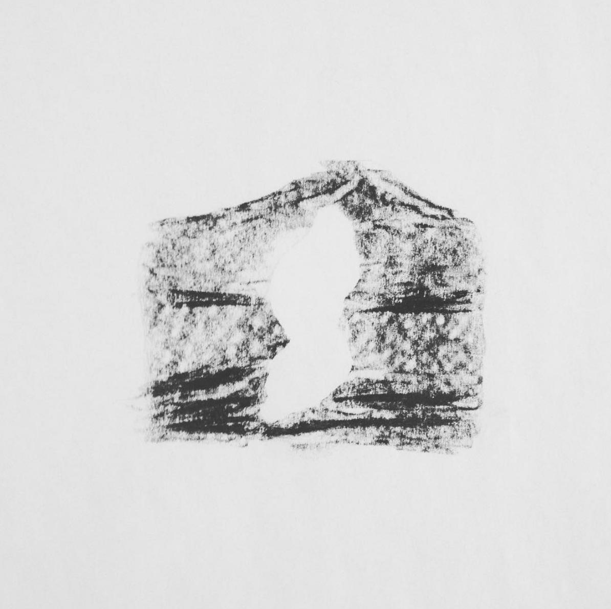Dedans, dessin au fusain, 2013