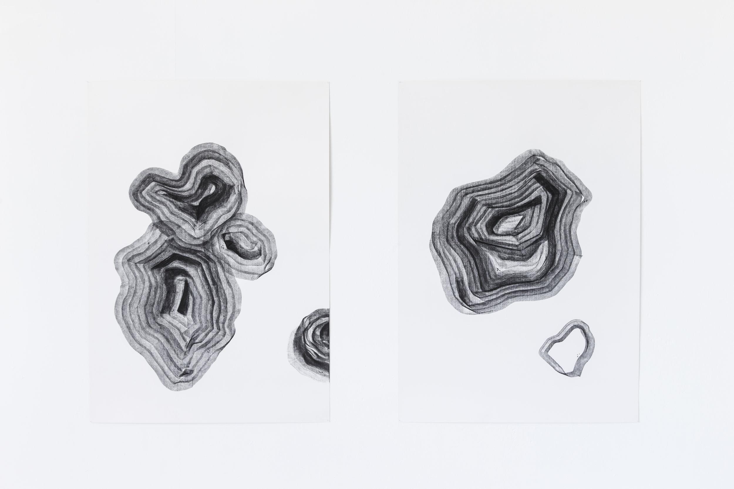 Strates, dessins au fusain, 2013
