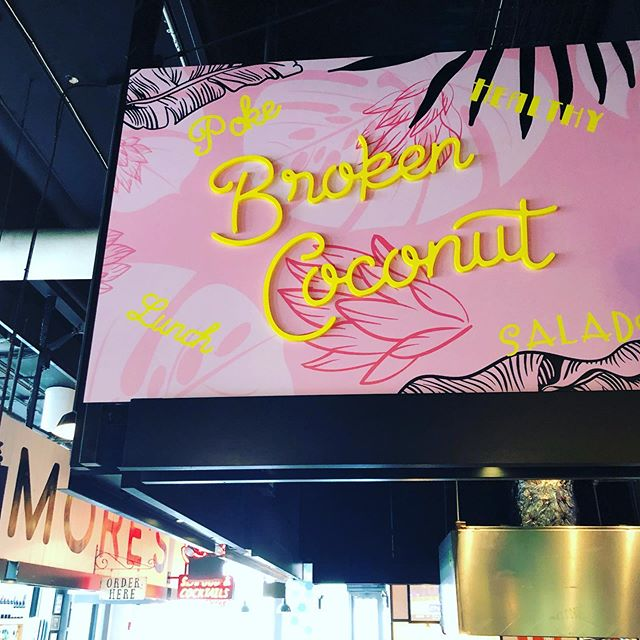 Welcome to the party @broken.coconut. Now open @gwmarket #eatpretty • • • #brokencoconut #beachtobowl #foodhall #bowls #acaibowl #vegan #coconutyogurt #maplemeadowsfarm #chia #juice