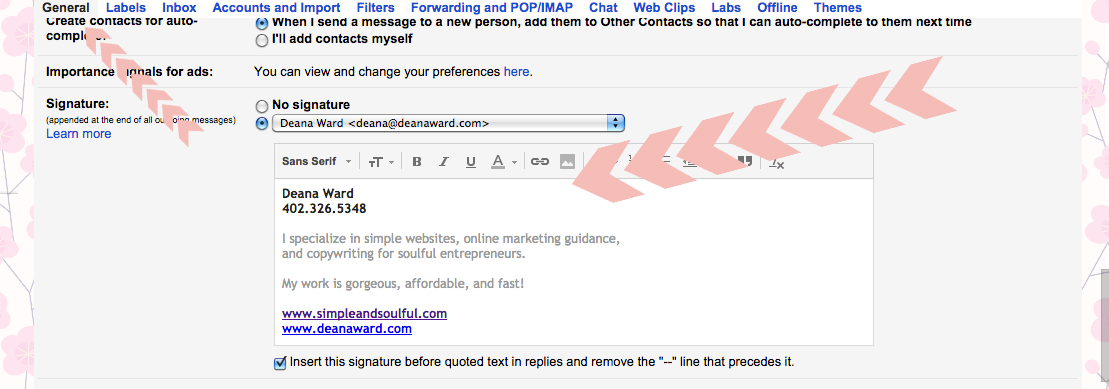 setting up your email signature in gmail