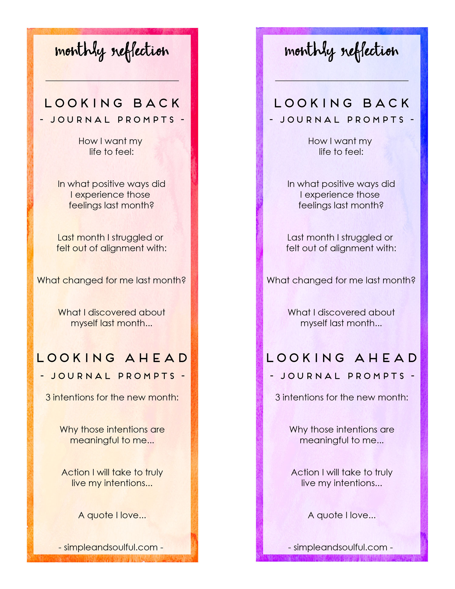 Click on this image to instantly download your printable journal bookmarks. Use them to reflect upon the journey you took in your life and business last month.