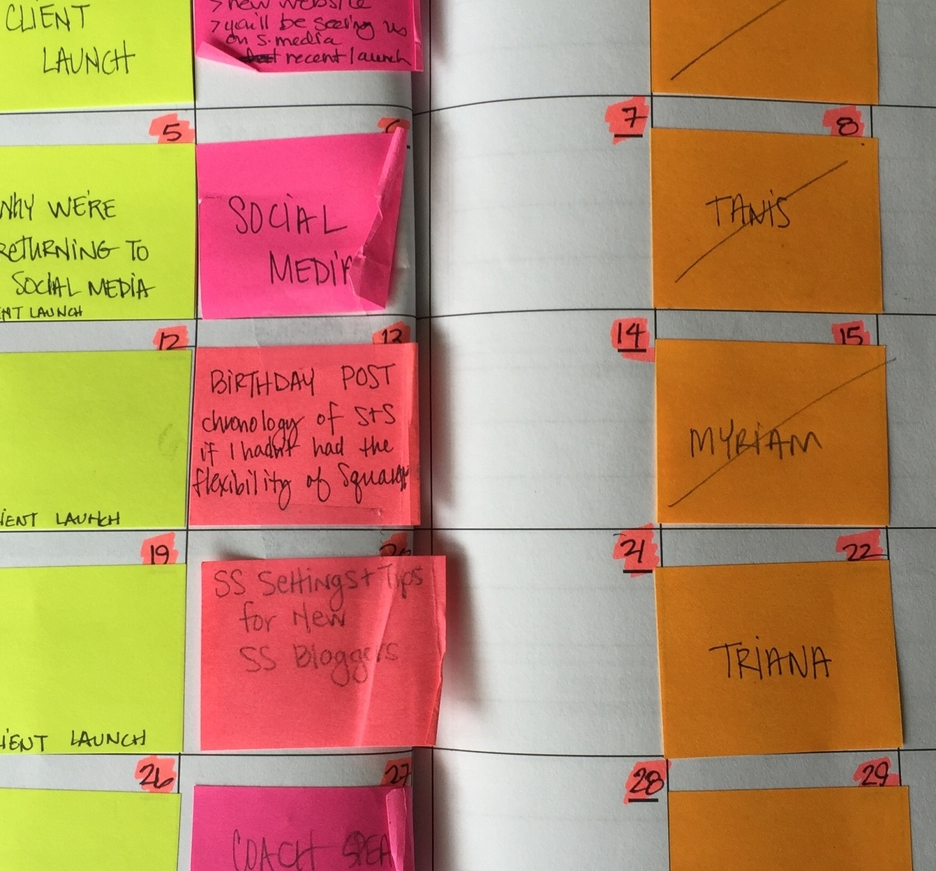 Each sticky note gets labeled with one of the ideas from my curated list. I select posts that directly support my goals for the month.